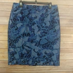 Ann Taylor Blue Damask Pencil Skirt size 10